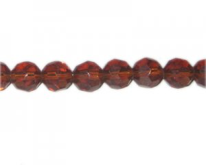 "12mm Golden Brown Faceted Round Glass Bead, 13"" string"