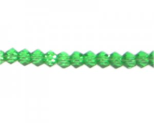 "6mm Green Faceted Glass Multi-Cube Bead, 14"" string"