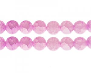 12mm Rose Quartz Duo-Style Glass Bead, approx. 14 beads