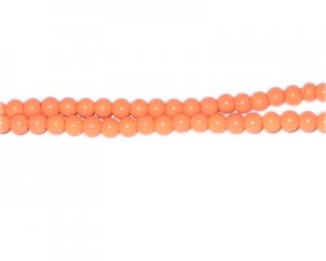 4mm Bright Orange Team and School Glass Bead, approx. 102 beads