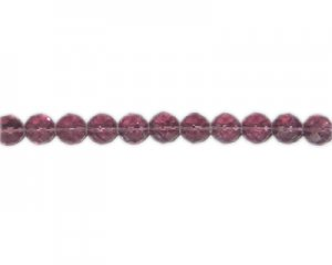 "8mm Pale Plum Faceted Round Glass Bead, 12"" string"