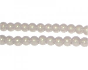 6mm Silver Pearlised Glass Bead, approx. 74 beads