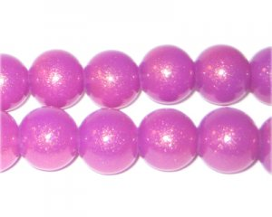 12mm Violet Pearlised Glass Bead, approx. 19 beads