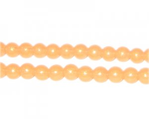 6mm Apricot Pearlised Glass Bead, approx. 74 beads