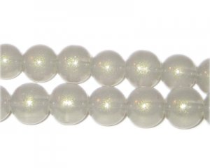 10mm Silver Pearlised Glass Bead, approx. 24 beads