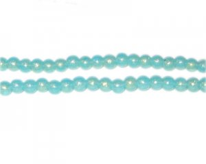 4mm Aqua Pearlised Glass Bead, approx. 110 beads
