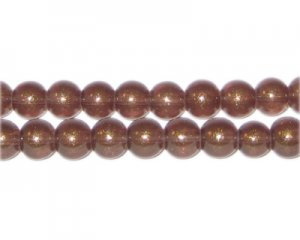 8mm Copper Pearlised Glass Bead, approx. 53 beads