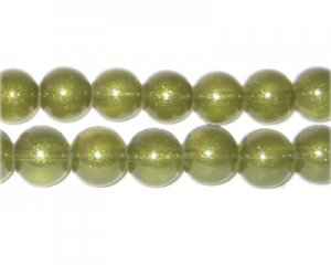 10mm Olive Pearlised Glass Bead, approx. 24 beads