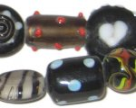 "10 - 22mm Black Spot Round Mix Artisan Glass Bead, 6"" string"