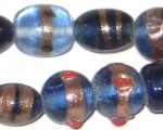 "14 - 20mm Blue Mix Artisan Glass Bead, 7"" string"