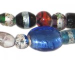 "8 - 12mm Color Foil Mix Artisan Glass Bead, 6"" string"