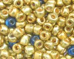 6/0 Gold Metallic / Turq. Glass Seed Bead, 1oz. bag