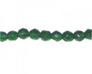 "8mm Dark Green Faceted Round Glass Bead, 13"" string"
