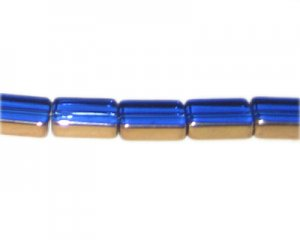 14 x 10mm Blue Vintage-Style Rectangle Glass Bead, approx. 10 be