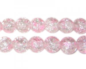 10mm Carnation Crackle Spray Glass Bead, approx. 21 beads
