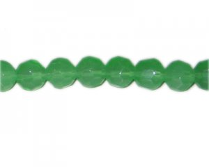 "12mm Green Faceted Round Semi-Opaque Glass Bead, 13"" string"