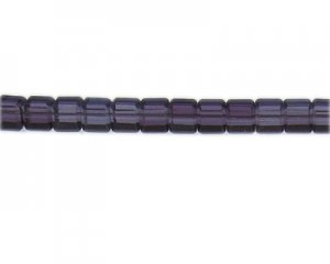 "6mm Purple Faceted Cube Glass Bead, 13"" string"