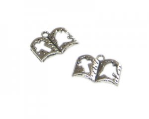 16 x 12mm Silver Book with Cross and Dove Charm, 4 charms