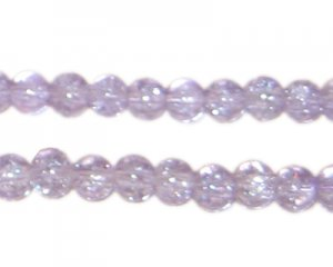 6mm Violet Round Crackle Glass Bead, approx. 74 beads