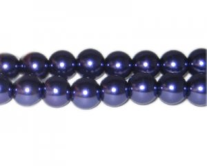 12mm Crisp Purple Glass Pearl Bead, approx. 18 beads