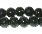 12mm Marble-Style Dark Green Spot Bead, approx. 18 beads