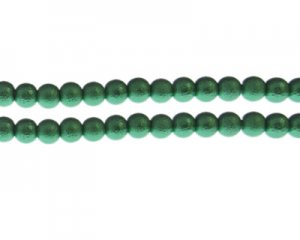 8mm Dark Green Rustic Glass Pearl Bead, approx. 56 beads