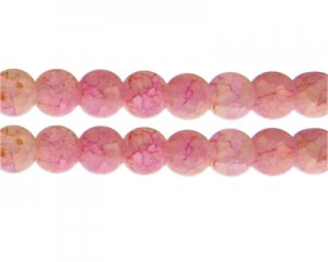 12mm Pink/Yellow Duo-Style Glass Bead, approx. 14 beads