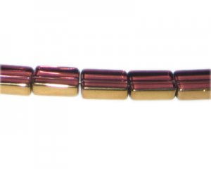 14 x 10mm Plum Vintage-Style Rectangle Glass Bead, approx. 10 be