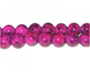 10mm Crimson Marble-Style Glass Bead, approx. 21 beads