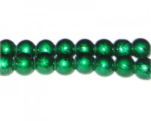 10mm Drizzled Dark Green Bead, approx. 22 beads