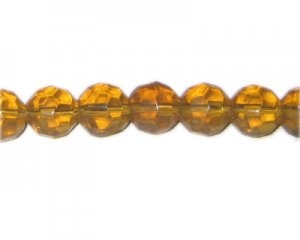 "14mm Deep Gold Faceted Round Glass Bead, 13"" string"