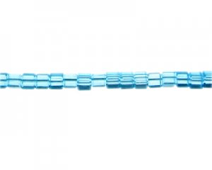 "6mm Turquoise Faceted Cube Glass Bead, 13"" string"
