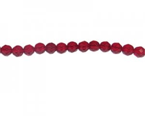 "8mm Light Red Faceted Glass Bead, 14"" string"