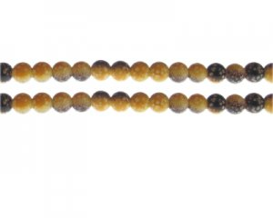 6mm Yellow/Brown Spot Marble-Style Glass Bead, approx. 48 beads