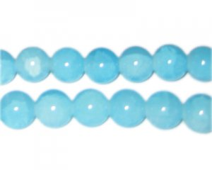 12mm Light Larimar-Style Glass Beads, approx. 18 beads