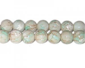 12mm Sea Swirl Marble-Style Glass Bead, approx. 14 beads