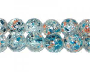12mm Fire and Rain Crackle Season Glass Bead, approx. 19 beads