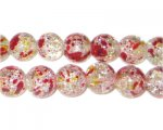 10mm Autumn Leaves Crackle Season Glass Bead, approx. 21 beads