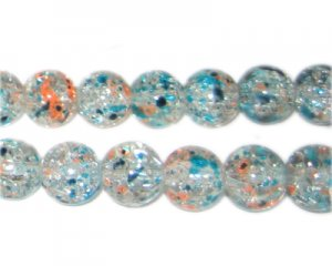 10mm Rain and Fire Crackle Season Glass Bead, approx. 16 beads