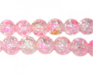 10mm Rose Water Crackle Season Glass Bead, approx. 21 beads