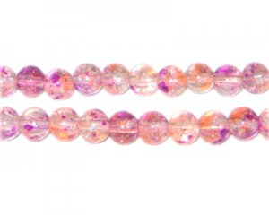 6mm Violet Flame Crackle Season Glass Bead, approx. 71 beads