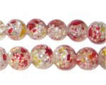 12mm Autumn Leaves Crackle Season Glass Bead, approx. 19 beads