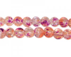 8mm Violet Flame Crackle Season Glass Bead, approx. 53 beads