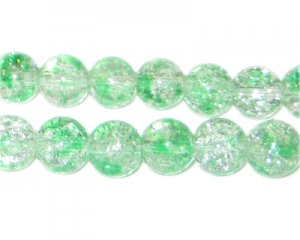 10mm Greenbrier Crackle Spray Glass Bead, approx. 21 beads