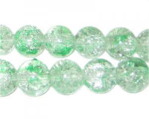 12mm Greenbrier Crackle Spray Glass Bead, approx. 18 beads