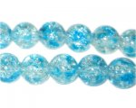 12mm Bluebell Crackle Spray Glass Bead, approx. 18 beads