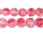 12mm Rose Crackle Spray Glass Bead, approx. 18 beads