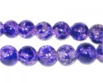 10mm Lavender Crackle Spray Glass Bead, approx. 21 beads