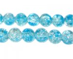 10mm Bluebell Crackle Spray Glass Bead, approx. 21 beads