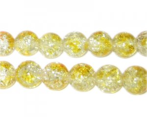 10mm Buttercup Crackle Spray Glass Bead, approx. 21 beads